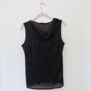 Sisely Going Out Sparkly Black Tank Top